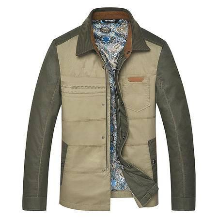 汤河之家2016新款男式夹克男外套男士中年夹克衫