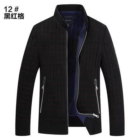 汤河之家秋冬新款男式夹克衫修身青年男士棒球领针织夹克外套潮