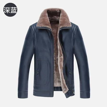 汤河之家2016新款男士皮毛一体男装 男士商务皮衣夹克