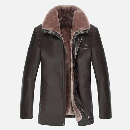 汤河之家2016新款男士皮毛一体男装男士商务皮衣夹克