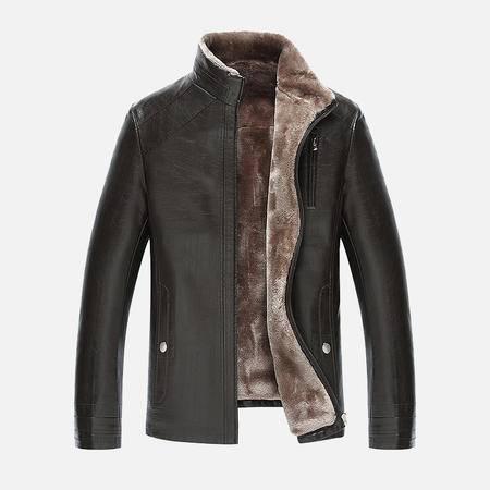汤河之家2016新款男士皮毛一体男装 男士商务立领高档皮衣夹克