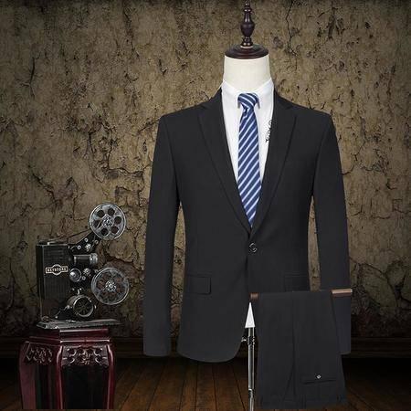 汤河之家2016年新款男士西服套装修身职业正装商务新郎结婚礼服西装