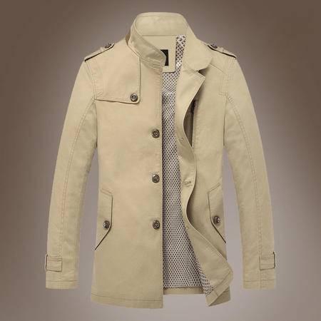 汤河之家2016秋冬新款单排扣男风衣英伦修身男式风衣 中长款男士立领外套