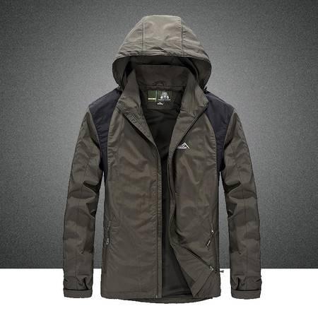 汤河之家男士夹克春装单层冲锋衣中长款夹克外套光版