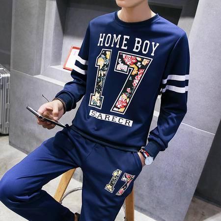 汤河之家新款男士卫衣数字印花青年圆领时尚休闲运动服套装男装