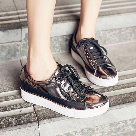 施悦名新款韩版牛皮平跟纯色单鞋圆头交叉绑带中跟女鞋