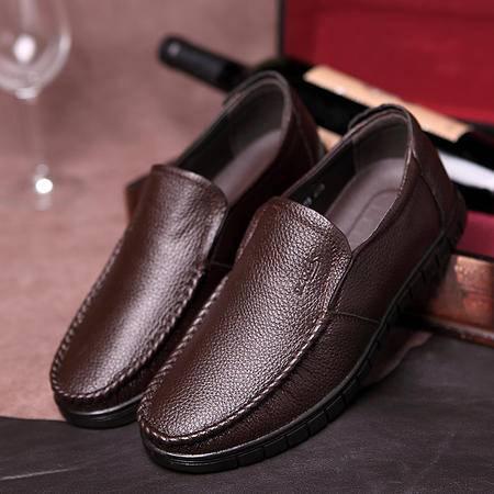 汤河之家2016新款男士皮鞋平底鞋舒适透气套脚休闲鞋软底中老年爸爸鞋