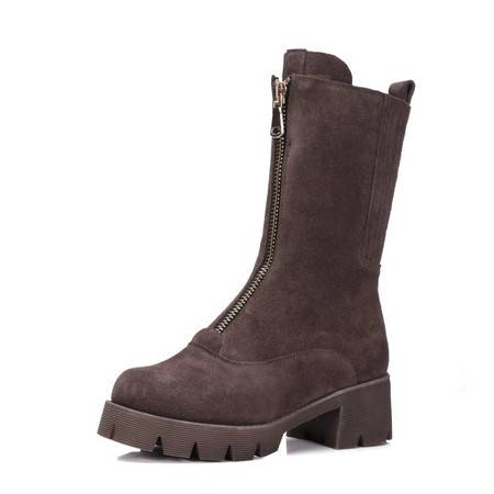 施悦名新款韩版真皮女鞋纯色圆头中跟增高短筒靴增高瘦腿保暖骑士靴潮女