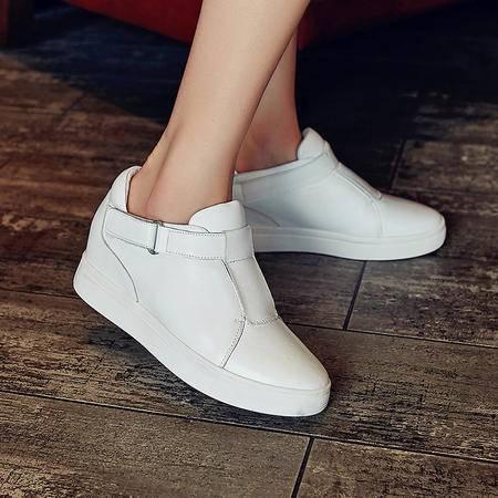 施悦名2016新款韩版厚底女真皮小白鞋魔术贴平底休闲鞋单鞋女潮