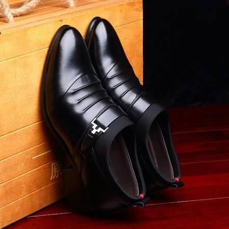 汤河之家2016新款男士商务正装尖头皮鞋韩版休闲男鞋套脚低帮鞋单鞋子