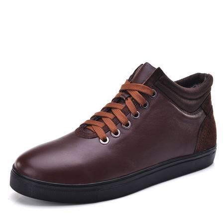 汤河之家 保暖特大码男靴 真皮加大码男鞋 真皮中老年大号靴子
