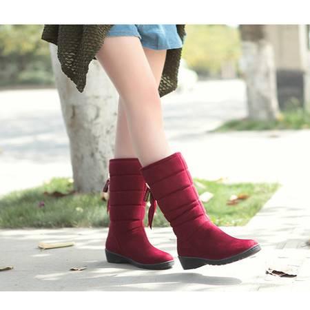 施悦名新款欧美外贸保暖女靴蝴蝶结中筒坡跟防水台雪地靴