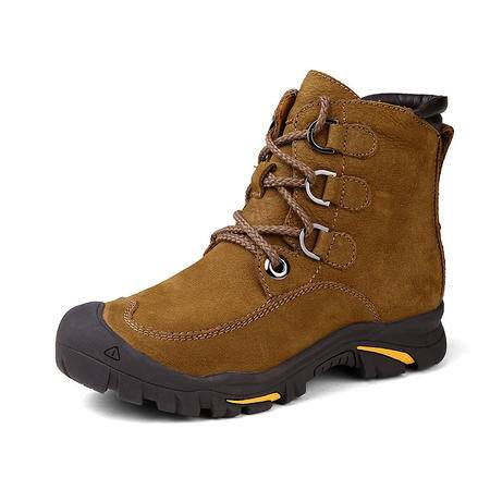 汤河之家 加厚大码保暖棉鞋 男士雪地靴冬季加绒真皮户外工装靴