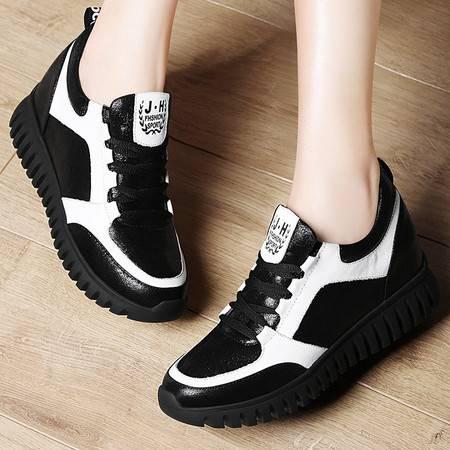 施悦名时尚女鞋拼色休闲鞋内增高