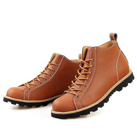 汤河之家 秋冬新款百搭马丁鞋时尚复古真皮男靴系带防滑中帮男单靴
