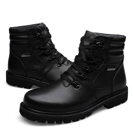 汤河之家冬季时尚休闲特大码高帮潮流保暖棉鞋头层小牛皮高档黑色鞋男