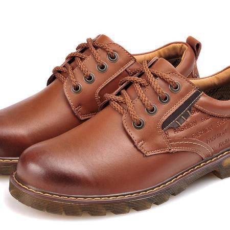 汤河之家秋冬新款休闲鞋系带英伦风低帮男鞋大头皮鞋真皮工装鞋子潮