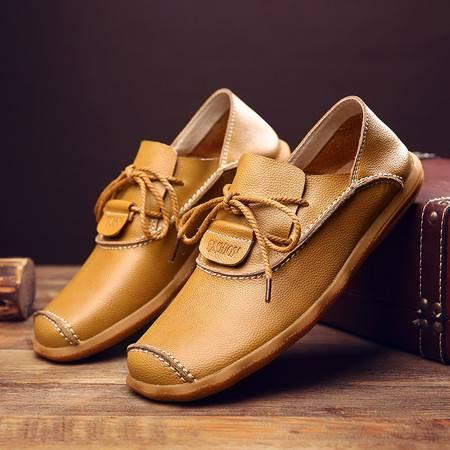 汤河之家新款男鞋日常休闲皮鞋韩版真皮英伦潮鞋透气系带低帮鞋子男