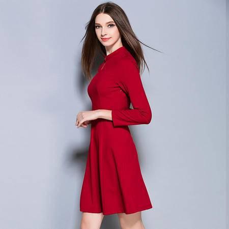 施悦名 016秋冬季新款时尚女装英伦通勤修身显瘦纯色连衣裙
