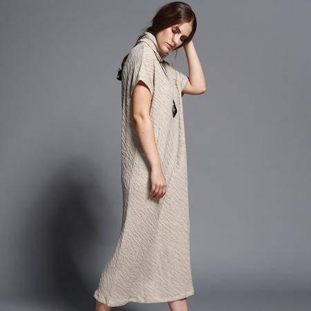 施悦名2016年秋季新款女装欧洲站 品牌大码正品棉麻连衣裙长裙秋冬