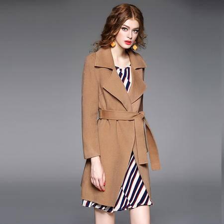 施悦名呢大衣女2016冬装新款高端双面呢羊毛大衣 大翻领系带外套