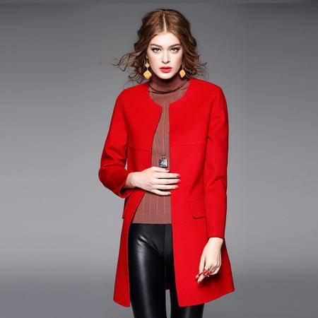 施悦名呢大衣女2016秋冬新款高端双面呢羊毛大衣 冬装新品外套