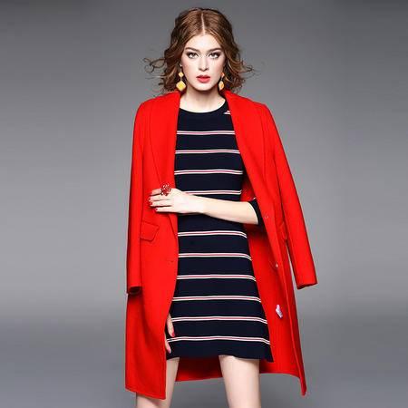 施悦名呢大衣女2016秋冬新款高端双面呢羊毛大衣 翻领单排扣外套