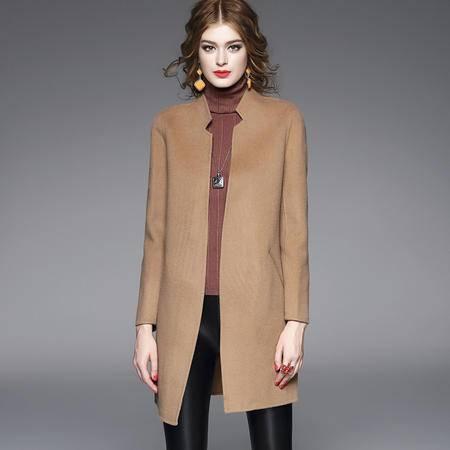 施悦名呢大衣女2016秋冬新款高端双面呢羊毛大衣 时尚毛呢外套女