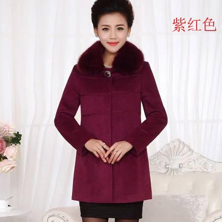 施悦名2016高端中老年女装新款冬季中长羊绒大衣中年妈妈毛领羊毛呢外套