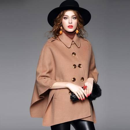 施悦名2016冬季新款 手工双面呢羊毛大衣双排扣斗篷外套