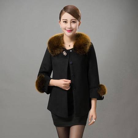施悦名2016中老年女装秋冬新款大码妈妈装中年女装休闲羊毛短款修身外套