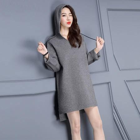 施悦名新款秋冬季2016韩版时尚纯色九分袖中长款带帽套头女