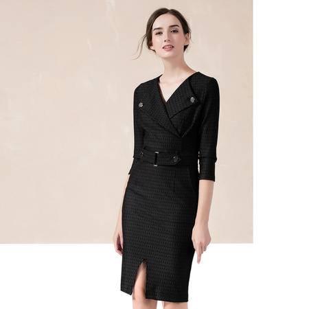 施悦名2016秋冬新款V领条纹西装款式连衣裙欧美官网品牌外贸女装
