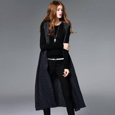 施悦名2016秋冬新款兔毛外套背心呢大衣时尚高档中长款毛呢马甲拼皮女装