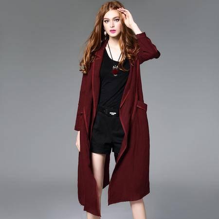 施悦名2016秋冬新品女式大衣亚麻衫时尚欧洲宽松长外套连帽女装