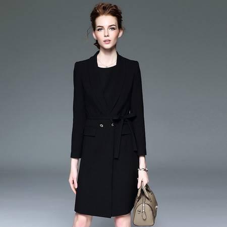 施悦名西装外套收腰系带连衣裙