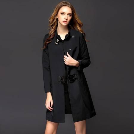施悦名秋冬季b家外贸原单高端精品拼接中长款修身女式风衣女装