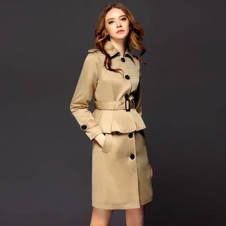 施悦名2016新款欧洲站时尚欧美b家风衣修身荷叶边下摆风衣套装