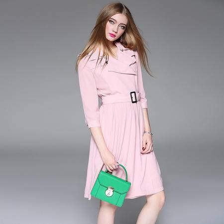 施悦名2016欧美女装新款西装领口腰中缩褶系带长袖大摆连衣裙