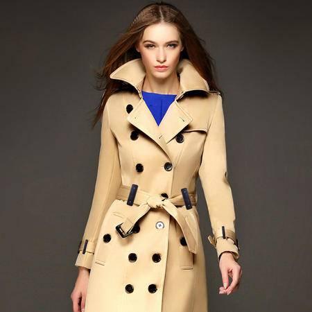 施悦名长款双排扣女士风衣大衣2016新款气质修身秋冬外套女