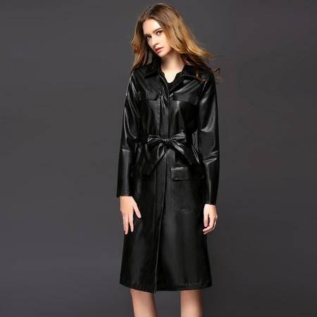 施悦名2016秋冬新款欧美大牌b家风衣 女装修身中长款女式皮风衣外套