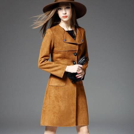 施悦名新品 女装秋冬麂皮绒拼接修身单排扣中长款外套