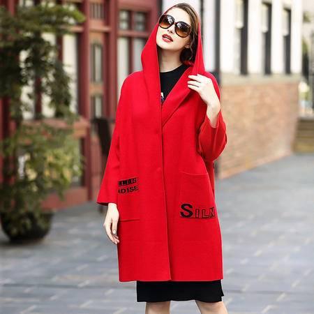 施悦名2016秋冬新款女装欧美高档大码宽松茧型外套落肩连帽长袖大衣长款