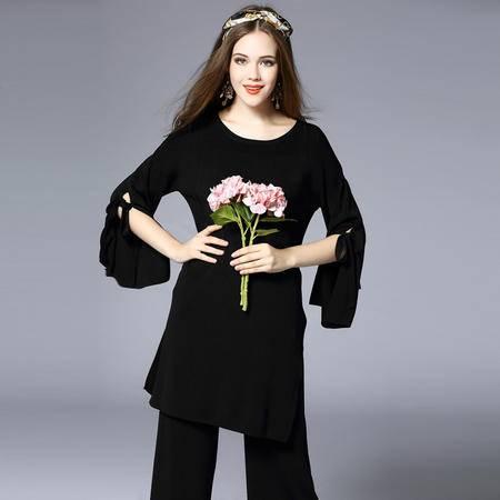 施悦名2016新款欧洲站复古圆领修身人造丝黑色阔腿裤两件套长款套装