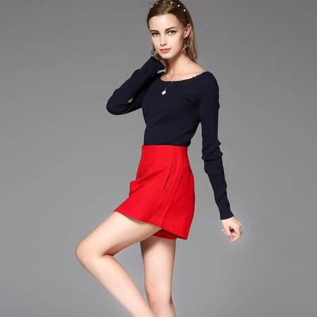 施悦名早秋2016新款韩版女装一字肩针织长袖上衣裤裙两件套套装
