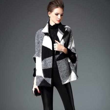施悦名秋冬斗篷毛呢外套女2016新款宽松大码女装蝙蝠袖短款呢子大衣