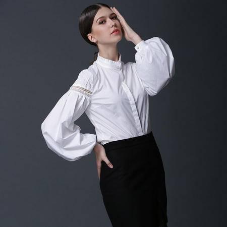施悦名2016早秋女装文艺范 女士衬衫纯色女式衬衣灯笼袖白衬衫