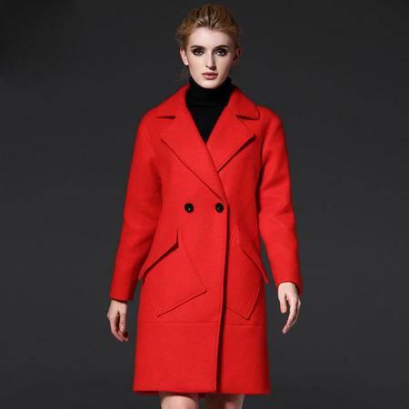 施悦名女式外套2016秋冬欧美女装新款长款廓形不规则口袋风衣毛呢大衣女