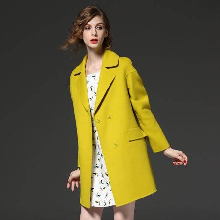 施悦名2016秋冬款纯色修身羊毛呢外套女西装翻领中长开叉欧美毛呢大衣女