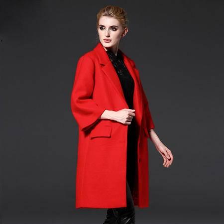施悦名毛呢大衣女2016秋冬新品欧美大码女装羊毛喇叭袖时尚毛呢外套